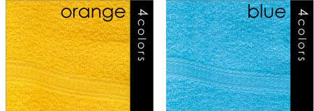 オレンジ ブルー 名入れカラータオル 印刷 激安 日本製 標準厚 200匁