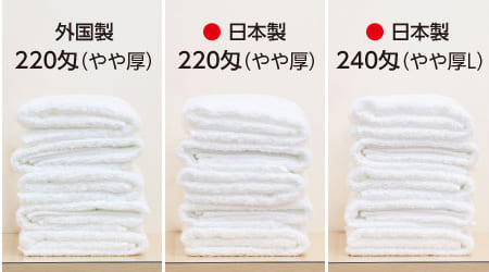 日本製タオルと外国製タオルの違い 220匁