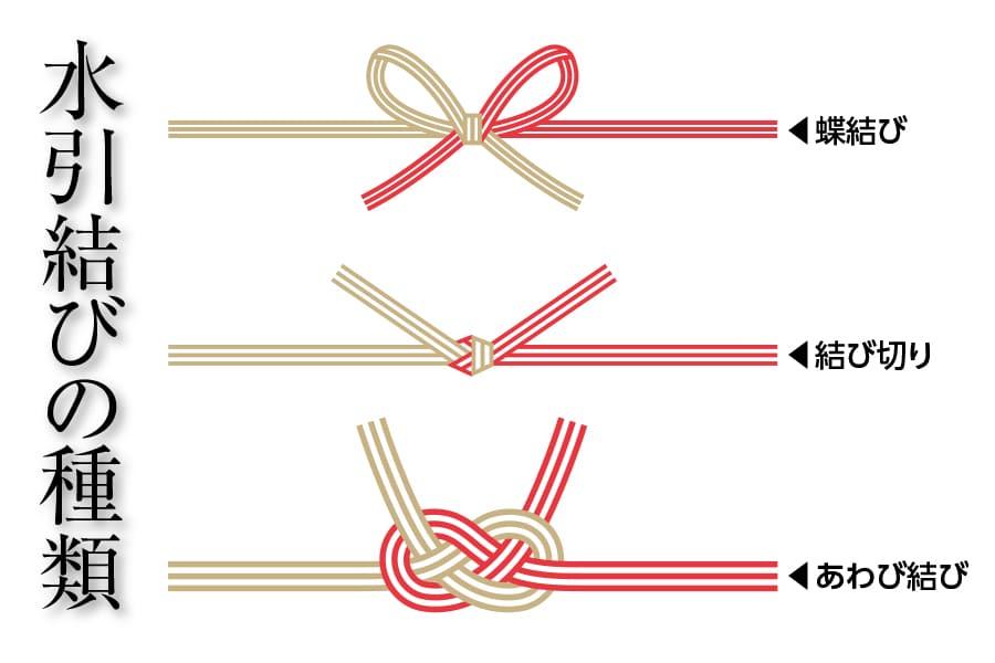 水引結びの種類,花結び(蝶結び),結び切り,あわじ結び